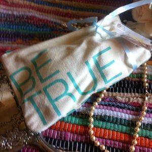 Handbags - Be True Blue & Green Canvas Cosmetic Bag